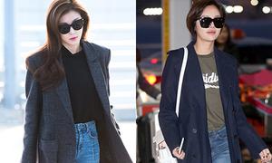 Áo khoác dài và boots - combo sành điệu mùa đông của dàn sao Hàn