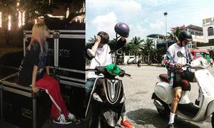 Sao Hàn 10/12: Dara nhuộm tóc 7 sắc cầu vồng, VIXX phóng xe máy ở Đà Nẵng