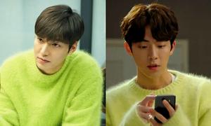 2 nam chính phim Hàn hot 'đụng' áo len nữ tính màu xanh chuối