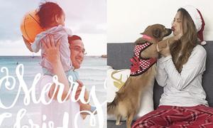 Sao Việt 26/12: Lilly Nguyễn hôn môi cún cưng, con trai Hà Tăng chơi bóng trên biển