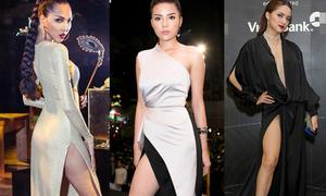 Mặc váy xẻ đến hông, mỹ nhân Việt đứng kém duyên