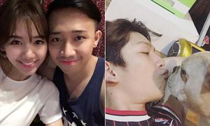 Sao Việt 26/1: Trấn Thành tô son đậm hơn vợ, Kelvin Khánh chu môi hôn cún