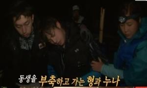 Jin (BTS) suýt ngất, kiệt sức trong show đi rừng