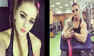 Cô gái mặt búp bê, thân hình lực sĩ nâng tạ 180kg