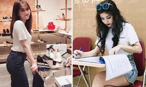 Sao Việt 27/2: Ngọc Trinh vung tiền mua sắm, An Japan son phấn đậm đi học