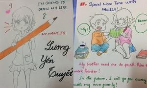 Nữ sinh 9x viết đơn xin học bằng tranh vẽ kute