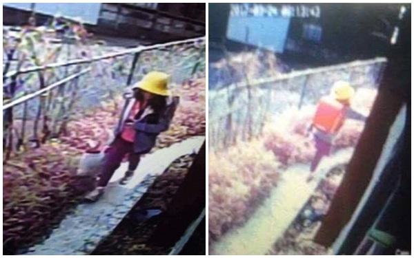 Hình ảnh cuối cùng của bé Linh vào sáng 24/3 được một camera an ninh gần nhà ghi lại.