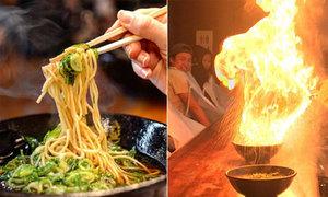 Mỳ ramen cháy bùng bùng trên bàn thách thức thực khách