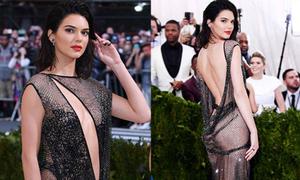 Kendall Jenner khoe trọn 3 vòng với váy lưới trên thảm đỏ