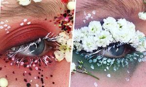 Gắn mi, chuốt mày bằng cánh hoa tươi tạo khuôn mặt phá cách