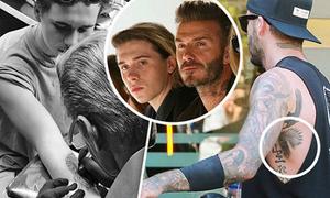 Không chịu kém bố, Brooklyn Beckham xăm hình không ngớt