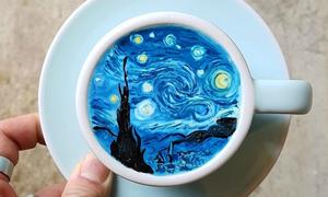 Lạ mắt tranh nghệ thuật trên cốc cà phê