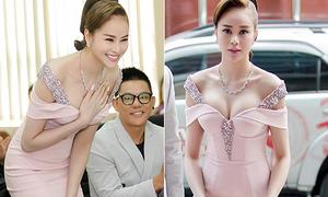 Hoa hậu Sella Trương lấy tay che ngực đầy tránh hớ hênh