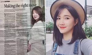 'Hotgirl vườn đào' Kiều Trinh xuất hiện trên tạp chí lớn của Malaysia