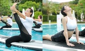 Mai Ngô - Jun Vũ say sưa luyện yoga 'lạ' trên mặt nước