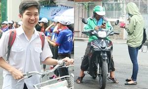 Sĩ tử đạp xe, đi xe ôm một mình đến trường thi