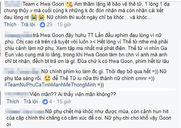 Kết thúc tập phim Ga Eun và Thế tử đoàn tụ viên mãn, fan chỉ bình luận bày tỏ niềm tiếc thương cho cái chết của nữ phụ.