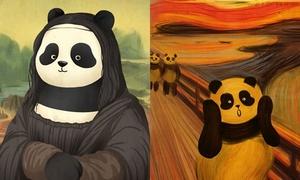 Những bức họa nổi tiếng trở nên vui nhộn khi nhân vật chính là gấu trúc