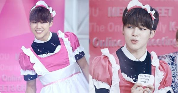 Có ai ngờ Jimin cũng có lúc xinh đẹp như thế này đóng vai cô hầu gái với trang phục hồng.