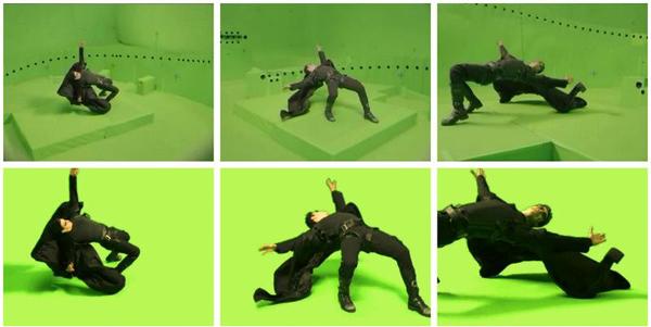Hậu trường cảnh phim. Những lỗ đen xung quanh nhân vật là vị trí đặt các camera.