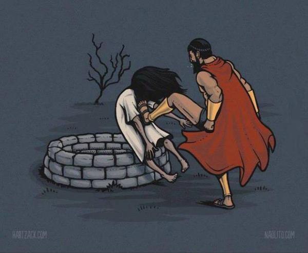 Ảnh chế vua Leonidas và ma nữ Sadako.