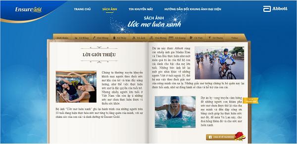 Sách ảnh Ước mơ luôn xanh trên trang web uocmo.ensure.com.vn