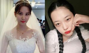 Sao Hàn 7/9: Seo Hyun mặc váy cưới lộng lẫy, Sulli tết tóc như thiếu nữ