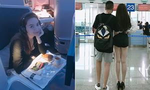 Sao Việt 22/9: Hà Hồ đi Mỹ cùng Kim Lý, Kelly Nguyễn diện quần ngắn cũn ra sân bay