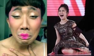 Trấn Thành giả gái hát 'Em gái mưa' khiến Hương Tràm 'quỳ lạy'