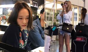 Sao Hàn 2/10: Krystal mặt ỉu xìu, Qri mặc quần rách te tua khoe chân