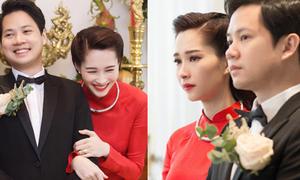 Hoa hậu Thu Thảo lúc cười rạng rỡ, khi khóc nghẹn ngào trong ngày cưới