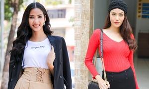 Hoàng Thùy - Lan Khuê ăn diện phong cách đi tuyển chọn người mẫu