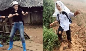 Mỹ Linh bất chấp dầm mưa, lội bùn để kéo điện về cho bà con Yên Bái