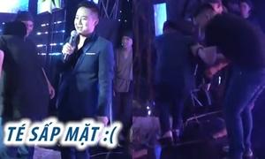 Thanh Duy té sấp mặt trên sân khấu khi làm MC