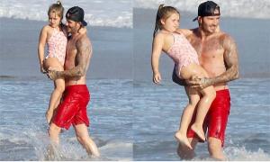 Harper 6 tuổi 'lớn đùng' vẫn được bố Beckham yêu chiều hết nấc