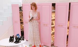 Ngọc Trinh biến mọi ngóc ngách trong nhà thành tủ chứa giày