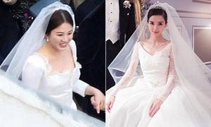 Diện cùng hãng váy cưới, Song Hye Kyo trông giản dị hơn hẳn Angelababy