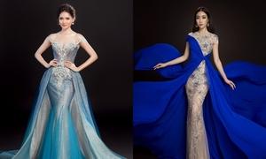 Đầm dạ hội giúp Mỹ Linh, Thùy Dung khoe trọn ưu điểm