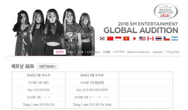 SM cập nhật website tiếng Việt, xác nhận thời điểm tuyển thực tập sinh tại TP HCM và Hà Nội khiến fan đứng ngồi không yên.