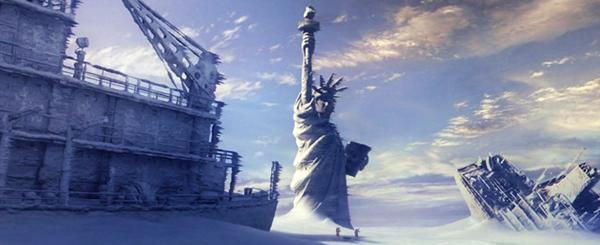 Cảnh thành phố New York chìm trong băng giá trong phim.