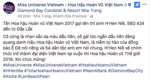 Fanpage HHHV Việt Nam bị phản ứng khi gọi tân hoa hậu là nhan sắc da màu.