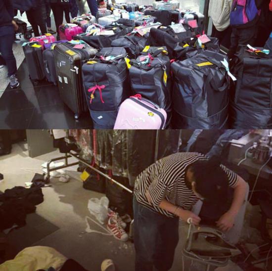 Stylist của Seventeen cặm cụi chuẩn bị cả tá vali cho nhóm trước mỗi lần đi diễn.