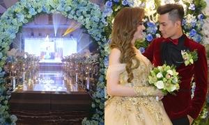 Tiệc cưới đầy hoa tươi và nến lung linh của Lâm Khánh Chi