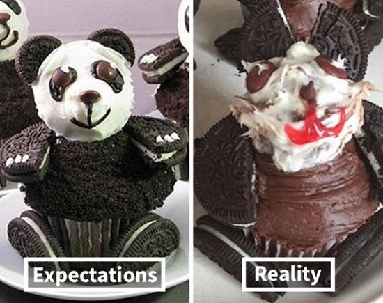 Sản phẩm cupcake gấu này chắc cất trong bếp thôi chứ đừng mang ra mời mọi người.