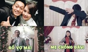 Bố mẹ hai bên bắn rap cực chất mừng đám cưới 'thánh chế' Nhật Anh Trắng