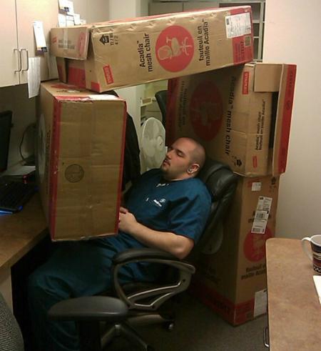 Xếp vài cái hộp là có chỗ ngủ yên tĩnh rồi.