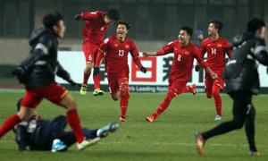 Cả đội tuyển U23 Việt Nam cảm ơn khán giả sau chiến thắng lịch sử