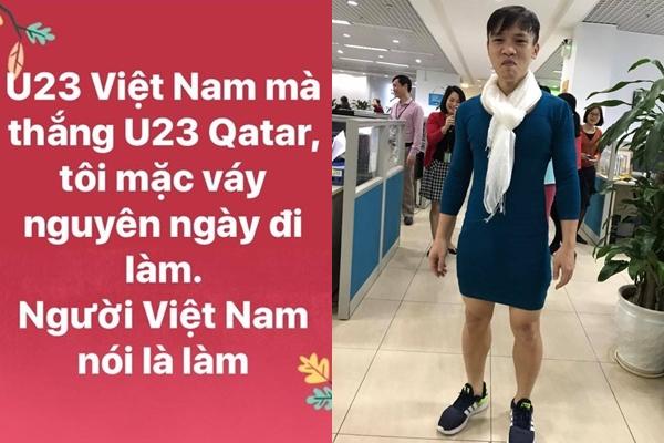 Nam thanh niên mặc đồ nữ đi làm như đã hứa nếu Việt Nam vào chung kết.