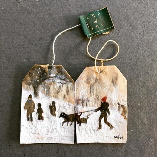 Tranh vẽ nghệ thuật đầy tinh vi trên túi trà lọc