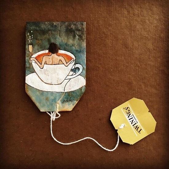 Tranh vẽ nghệ thuật đầy tinh vi trên túi trà lọc - 3